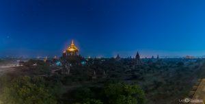 Thatbyinnyu temple Bagan night stars Myanmar Burma panoramic photography virtual reality tour