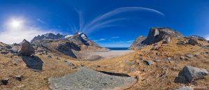 Bunes beach hike Lofoten Islands Norway panoramic photography virtual reality tour