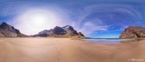 Bunes mountain cliffs beach Lofoten Islands Norway panoramic photography virtual reality tour