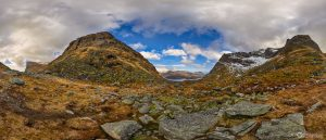 Kvalvika beach mountain hike Lofoten Islands Norway panoramic photography virtual reality tour