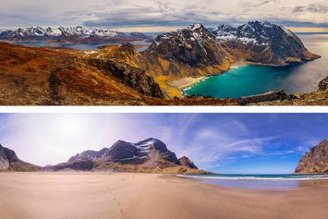 Lofoten Islands beaches Norway panoramic photography virtual reality tour