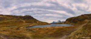 Ryten mountain hike summit Lofoten Islands Norway panoramic photography virtual reality tour