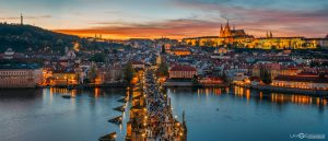 Prague Charles Tower Bridge Czech Republic panoramic photography