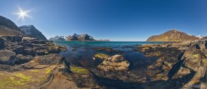Vareid beach Lofoten Islands Norway panoramic photography virtual reality tour