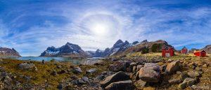 Vinstad village panorama Lofoten Islands Norway panoramic photography virtual reality tour